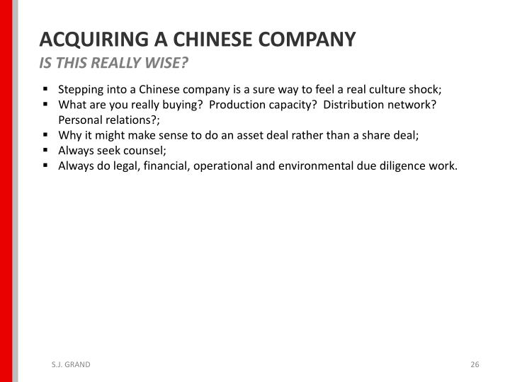 ACQUIRING A CHINESE COMPANY