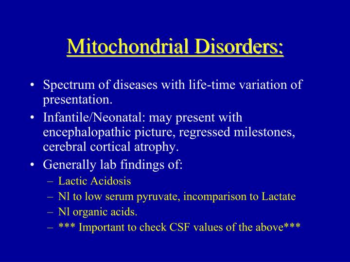 Mitochondrial Disorders: