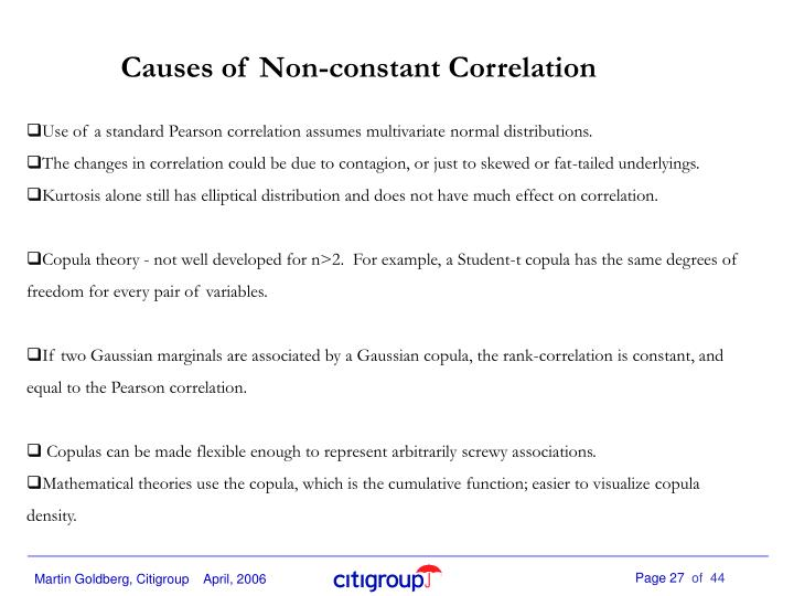 Causes of Non-constant Correlation