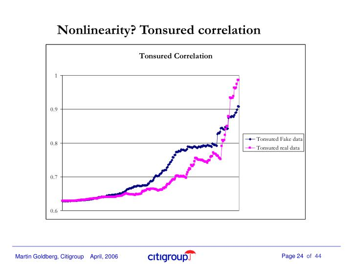 Nonlinearity? Tonsured correlation