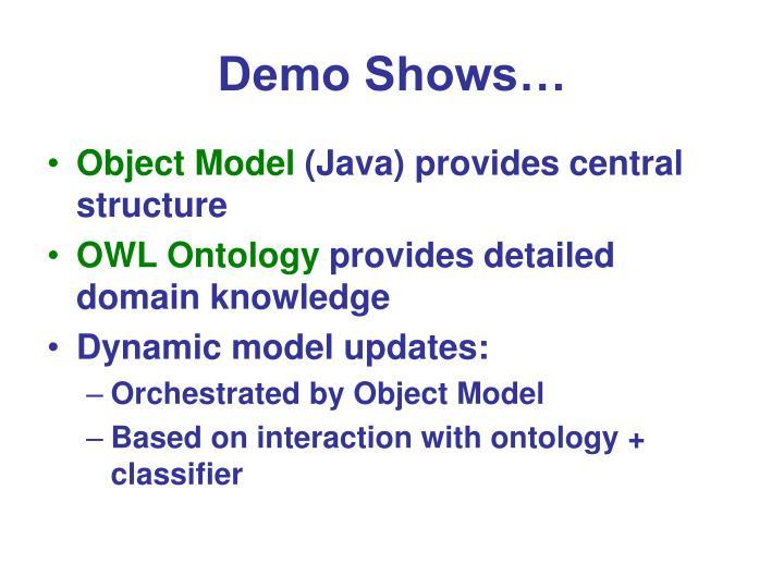 Demo Shows…