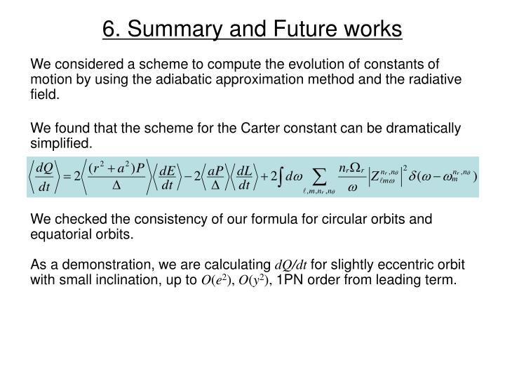 6. Summary and Future works