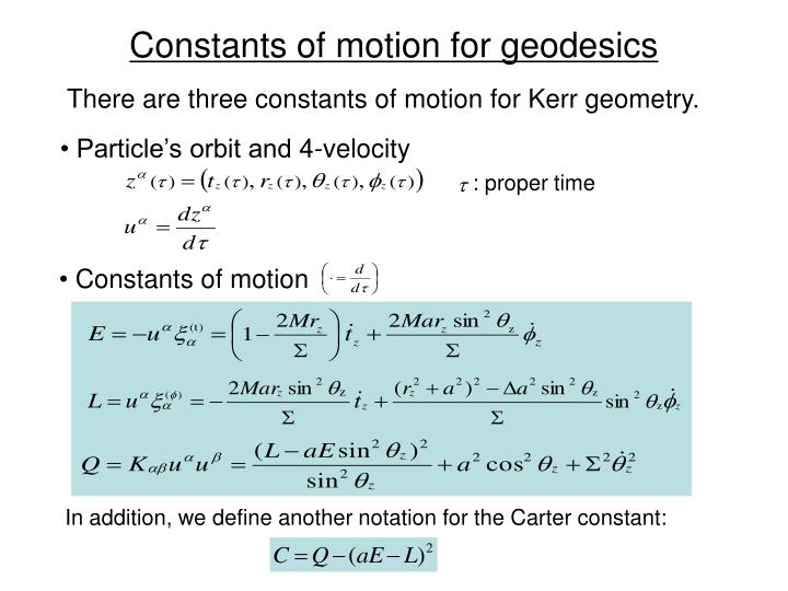 Constants of motion for geodesics