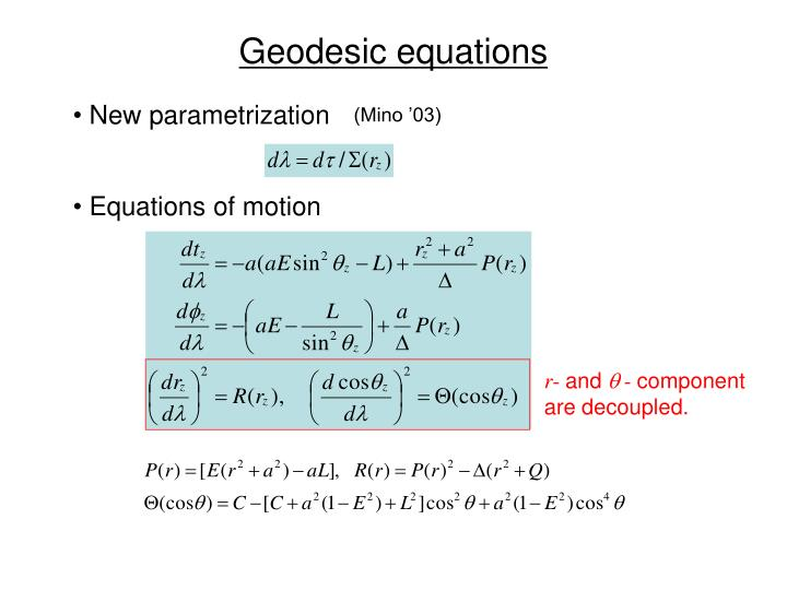 Geodesic equations