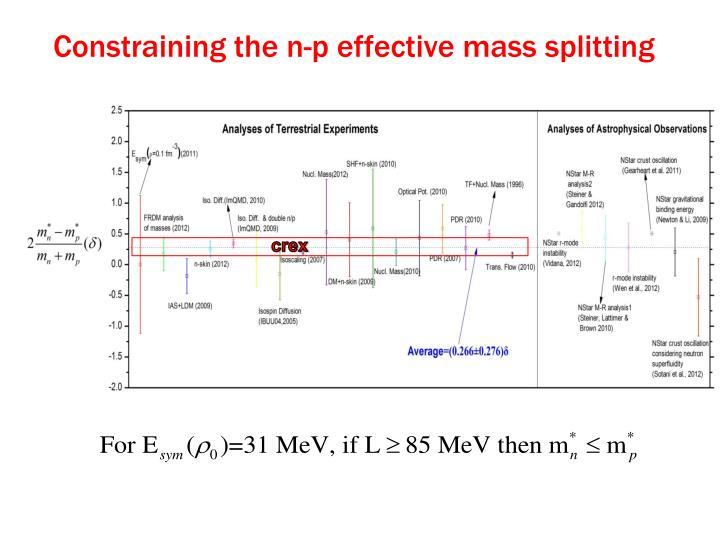 Constraining the n-p effective mass splitting