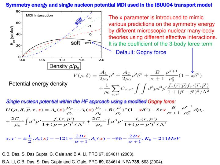 Symmetry energy and single nucleon potential MDI used in the