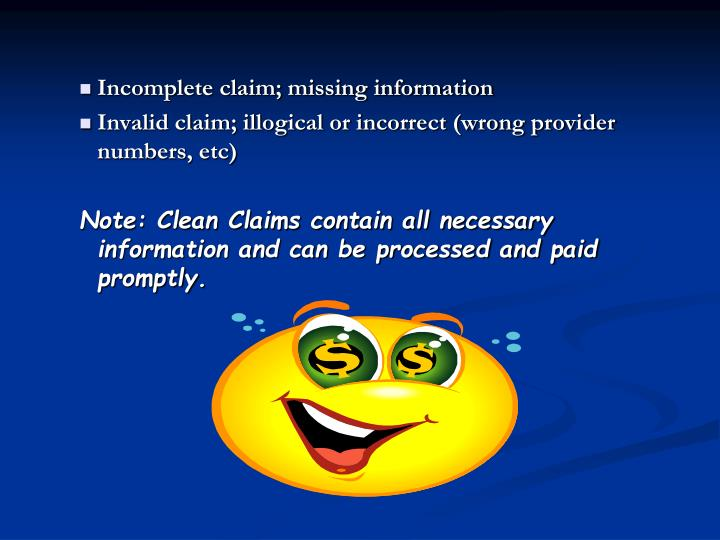 Incomplete claim; missing information