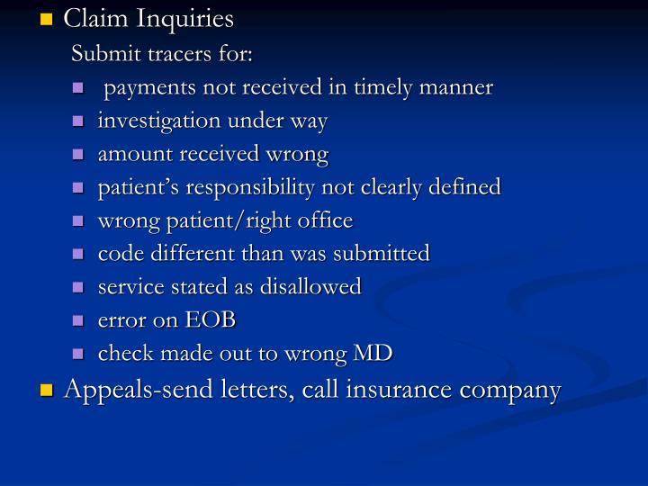 Claim Inquiries