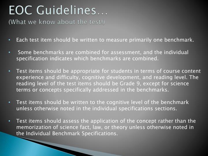 EOC Guidelines…