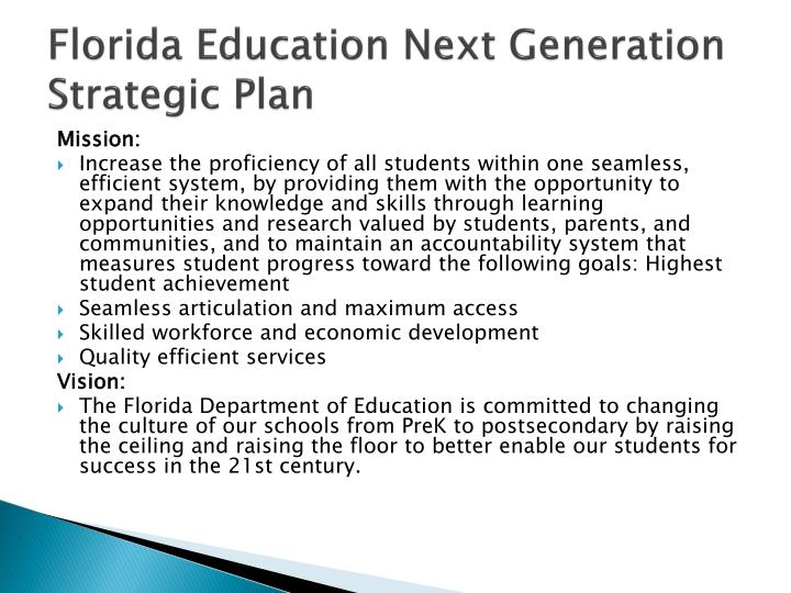 Florida Education Next Generation Strategic Plan