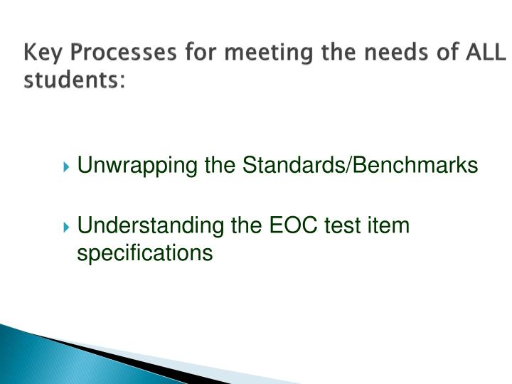 Key Processes for meeting the needs of ALL students: