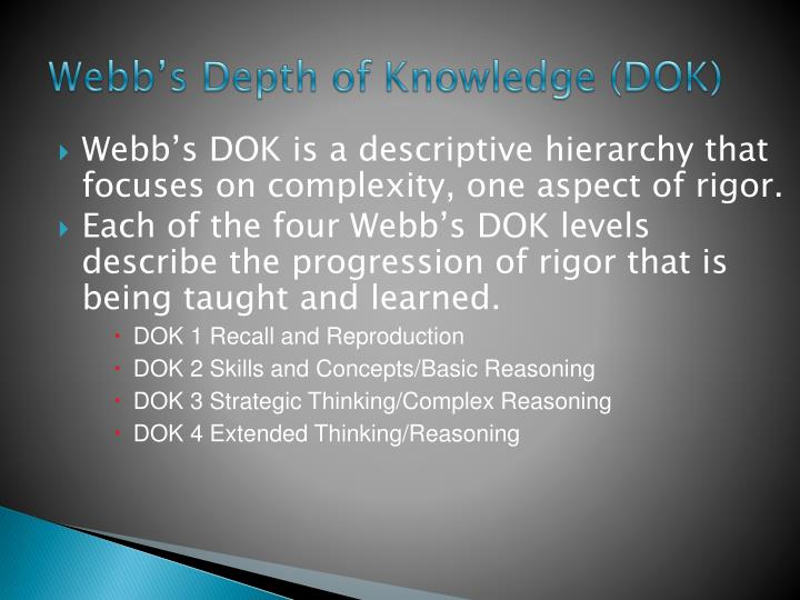 Webb's Depth of Knowledge (DOK)