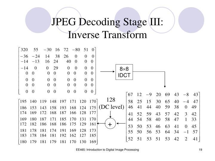 JPEG Decoding Stage III: