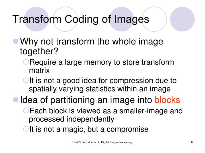 Transform Coding of Images