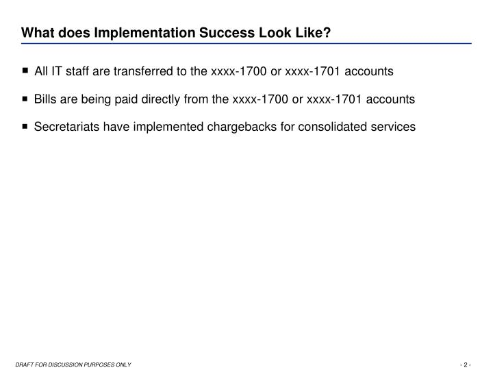 What does implementation success look like