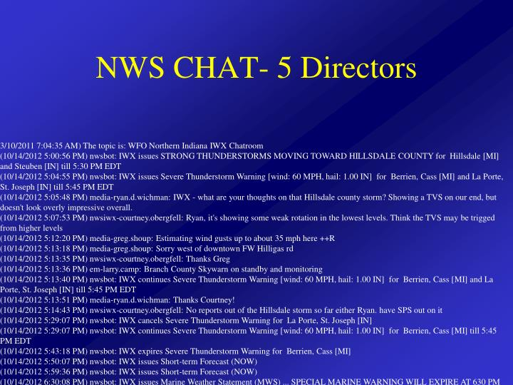 NWS CHAT- 5 Directors