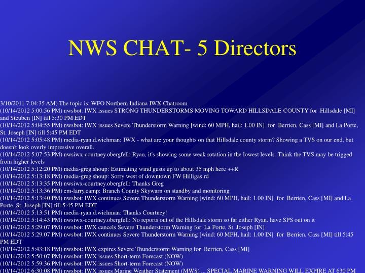 NWS CHAT- 5 Directors