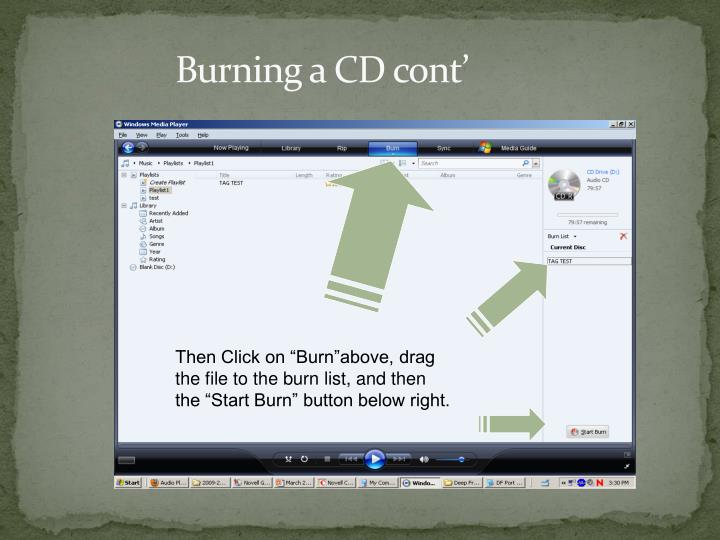 Burning a CD cont'