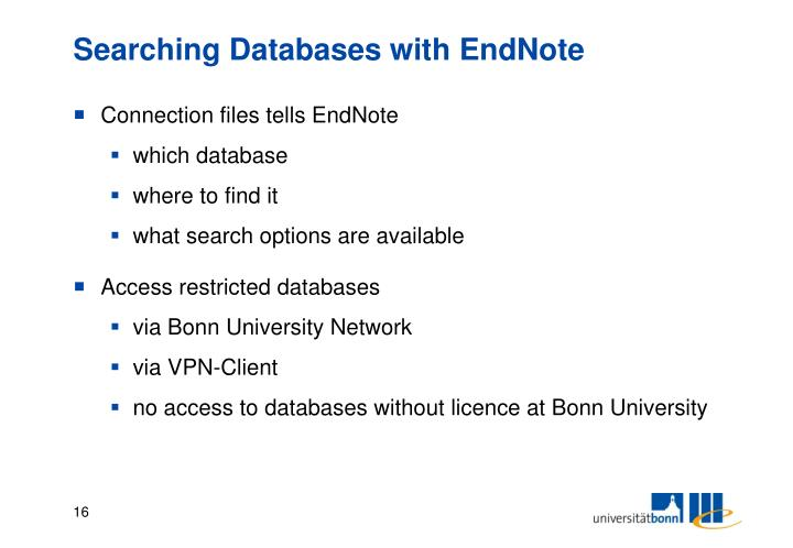 Searching Databases with EndNote