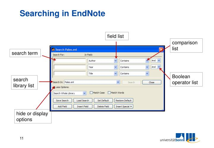 Searching in EndNote