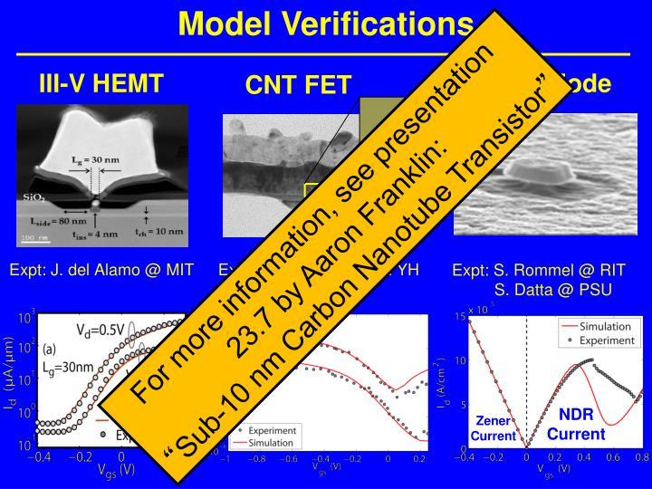 Model Verifications