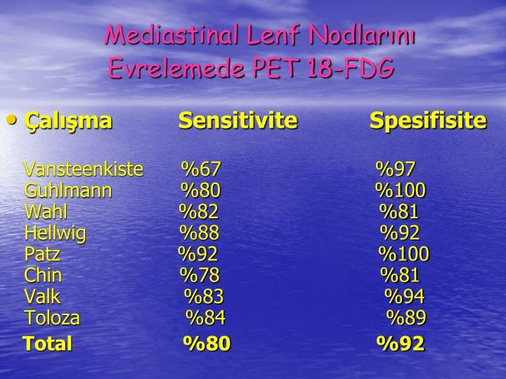 Mediastinal Lenf Nodlarn Evrelemede PET 18-FDG