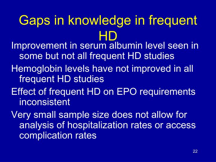 Gaps in knowledge in frequent HD