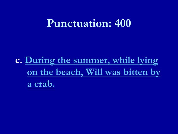 Punctuation: 400