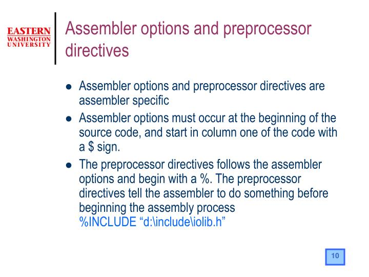 Assembler options and preprocessor directives