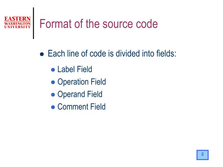 Format of the source code