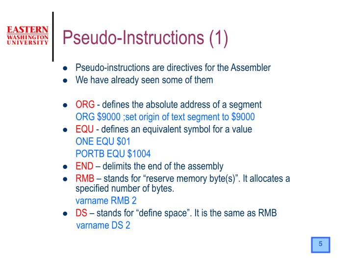 Pseudo-Instructions (1)