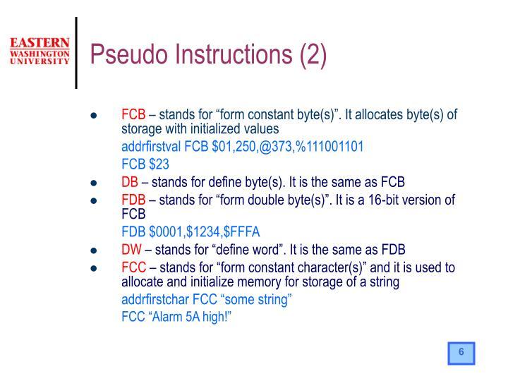 Pseudo Instructions (2)
