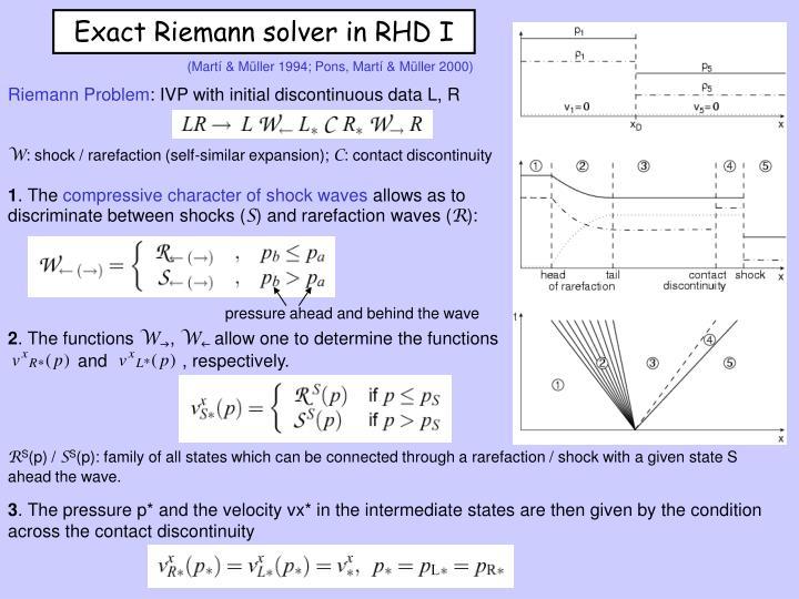 Exact Riemann solver in RHD I
