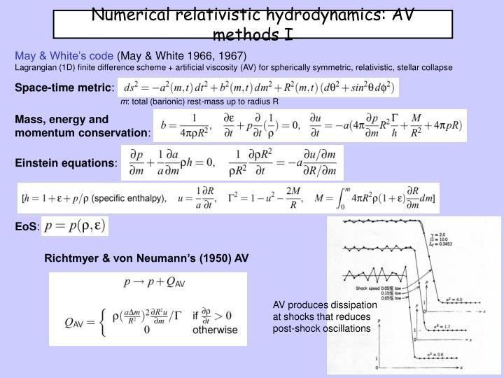 Numerical relativistic hydrodynamics: AV methods I