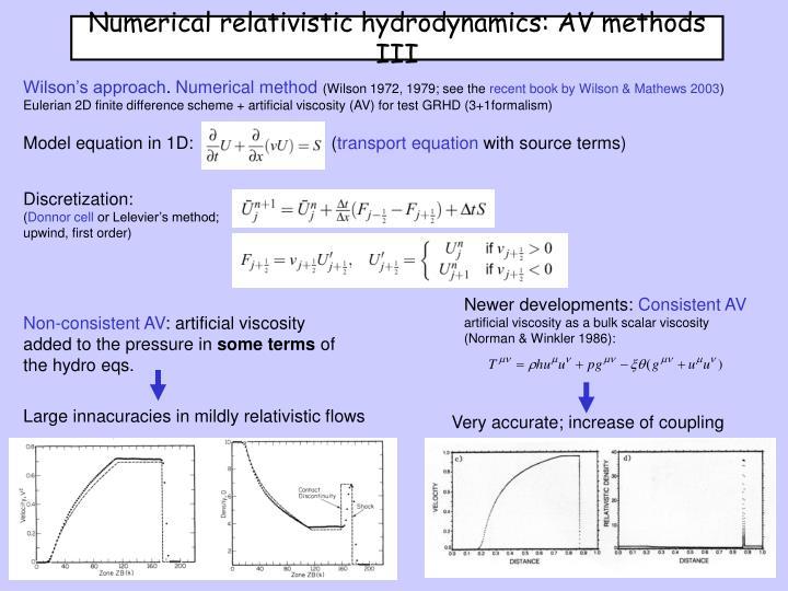 Numerical relativistic hydrodynamics: AV methods III