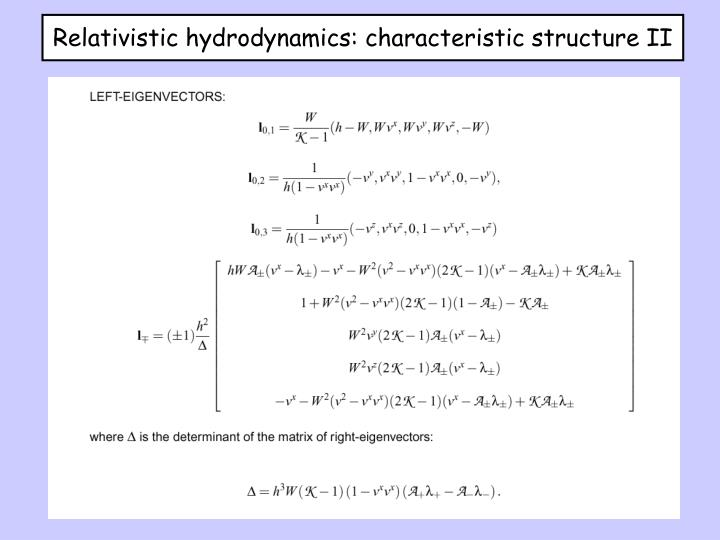 Relativistic hydrodynamics: characteristic structure II