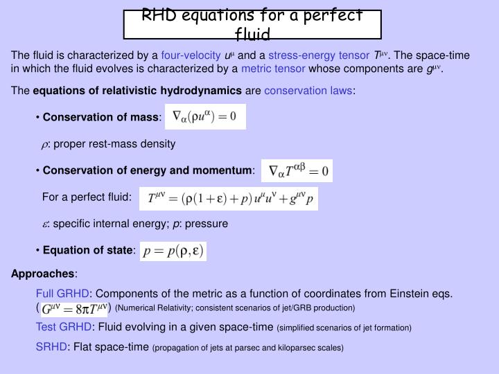 RHD equations for a perfect fluid