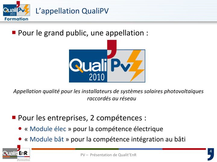 L'appellation QualiPV