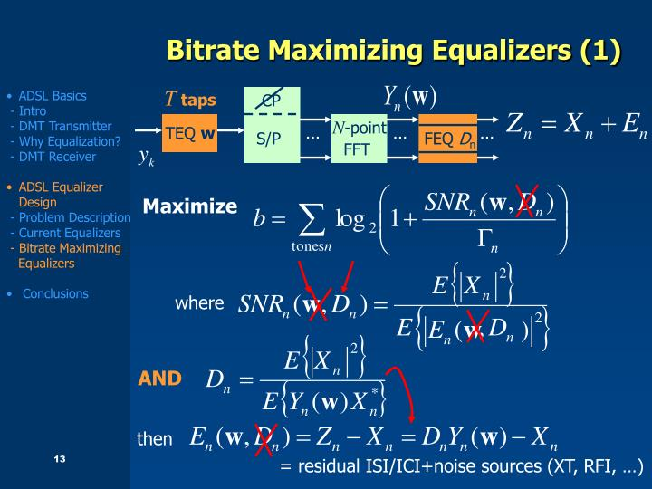 Bitrate Maximizing Equalizers (1)