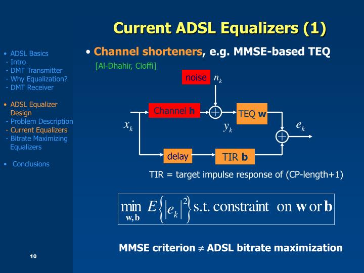 Current ADSL Equalizers (1)