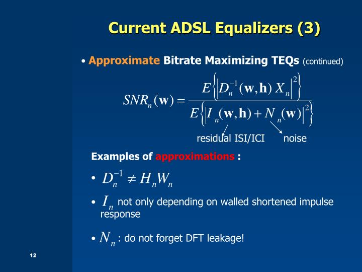 Current ADSL Equalizers (3)