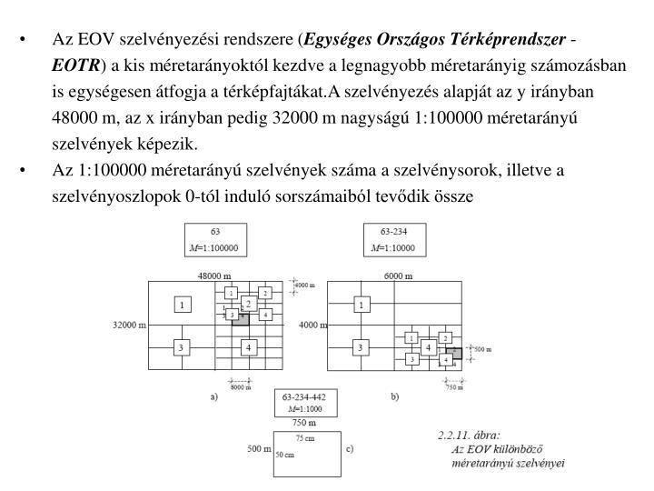 Az EOV szelvényezési rendszere (