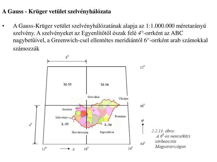 A Gauss - Krüger vetület szelvényhálózata