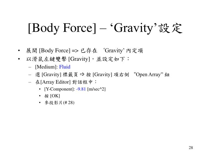 [Body Force] – 'Gravity'
