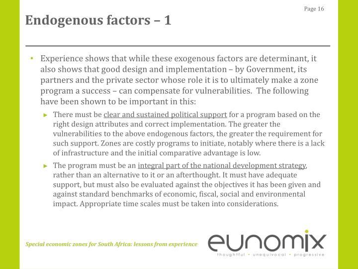 Endogenous factors – 1