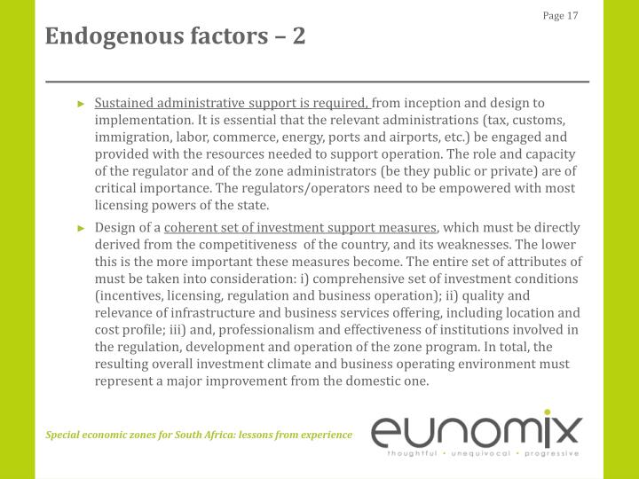Endogenous factors – 2