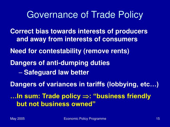 Governance of Trade Policy
