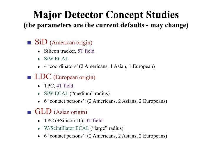 Major Detector Concept Studies