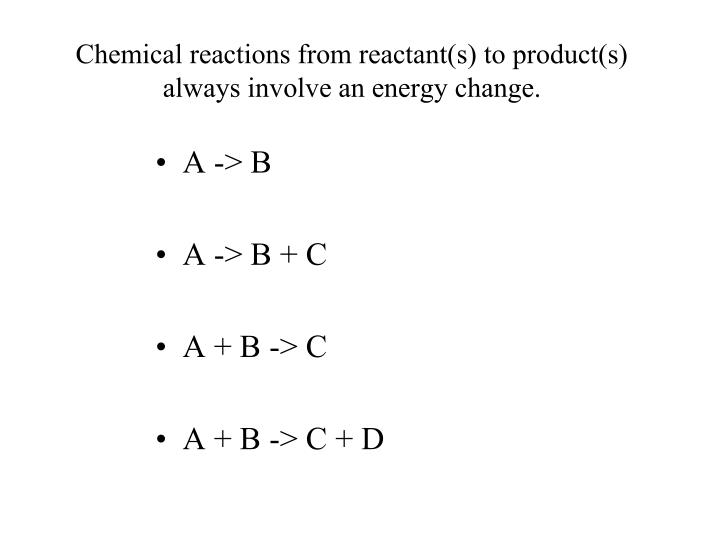 Chemical reactions from reactant(s) to product(s) always involve an energy change.
