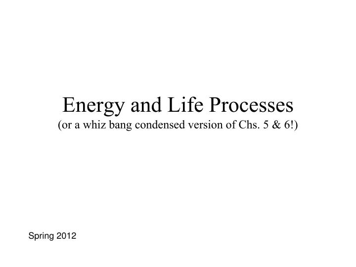 Energy and life processes or a whiz bang condensed version of chs 5 6